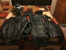 LEATHER JACKET, LEATHER CHAPS, LEATHER VEST, LEATHER GLOVES, HELMET LOT!! in Fort Lewis, Washington