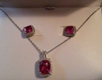 NIB- ruby/wh sapphire earrings & necklace in Columbia, South Carolina