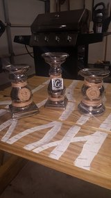 3 silver candle holders in Kingwood, Texas