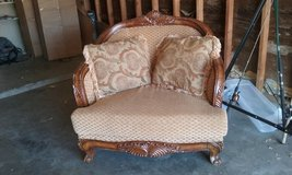 Tan and light brown, real wood couch two person in Fort Irwin, California