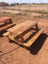 Picnic table with burnt finish in Alamogordo, New Mexico