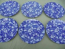 Vintage Blue Calico Plates (6) in Travis AFB, California