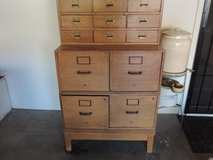 Vintage solid oak, 4 drawer file cabinets with library card files on top in Yucca Valley, California
