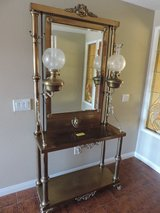 Antique solid brass hall tree with mirror in Yucca Valley, California