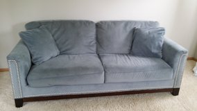 Grey ultra suede couch in Naperville, Illinois