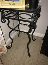 Black metal and crystal end table in Naperville, Illinois