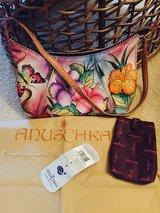 Anuschka Hand Painted Hawaiian Hibiscus Hob Leather Purse in Travis AFB, California