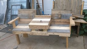 Handcrafted wooden bench in Lawton, Oklahoma