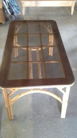 bamboo table with tick glass top in Lakenheath, UK