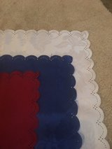 Red , white and blue table covers. in Algonquin, Illinois