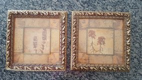 Gold picture art floral set in New Lenox, Illinois