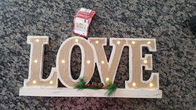 """Holiday led wood """"LOVE"""" sign w/ burlap in New Lenox, Illinois"""