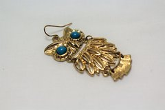 Antiqued Gold Tone Owl Bird Turquoise Blue Feather Earrings Drop Dangle Hook in Kingwood, Texas