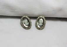 New Silver Tone Crystal Gray Cameo Smoke Shimmer Earrings Oval Post Stud in Kingwood, Texas