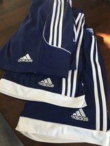 Adidas athletic shorts, adult small/kids XL Navy (3 pair) in Lockport, Illinois
