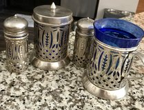 Silver with Glass Inserts sugar/creamer/salt and pepper in Beaufort, South Carolina