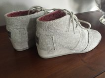Tom's Shoes, girls size 3, silvery-gray lace-up with a small,wedge heel in Lockport, Illinois