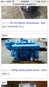 6 cylinder marine Perkins diesel engine in Camp Lejeune, North Carolina