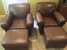 Leather Club Chairs with Ottomans in Houston, Texas