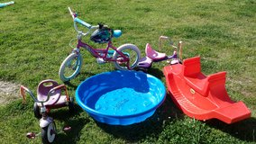 5 for $50-  KIDS BIKE w/ HELMET, 2 TRIKES, KIDDIE POOL, SEESAW in Fort Benning, Georgia