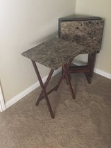 Tray Table Set, Brown Faux Marble in Beaufort, South Carolina