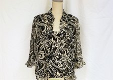 Nicola 2pc Crushed Black White Flower Crinkle L Sheer Stretch Knit Top Shirt Blouse in Kingwood, Texas
