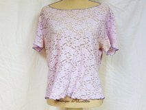 Nicola Purple Lavender Flower Flower Lace Sheer Large Knit Top Shirt Blouse in Kingwood, Texas