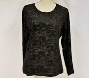 Amanda Smith Large Black Gray Charcoal Stretch Long Sleeve Knit Top Shirt Blouse in Kingwood, Texas