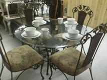 Glass top, metal base table and 4 chairs - REDUCED in Camp Lejeune, North Carolina