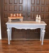 sofa  table / entry table  vanity desk / gray white glazed farm style top in Morris, Illinois