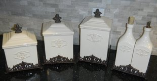 Daniel Cremieux Marie Antoinette Fleur-De-Lis Canister Set + Oil & Vinegar Bottles Jars Metal Base in Kingwood, Texas