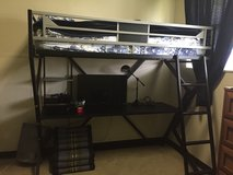 Black metal loft bed with desk PPU in Okinawa, Japan