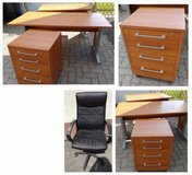 2 office desk + container + office chair black in Ramstein, Germany