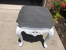 """Heavy solid wood side table painted """"shabby chic"""" in Wilmington, North Carolina"""