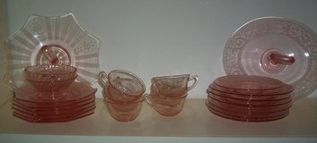 Pink Depression Glass, Copper Lustre pieces, Holland Pewter, Lefton China, Hummel Plates in Spring, Texas