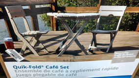 Outdoor bistro set. Table and chairs. Quick fold brand new in Joliet, Illinois
