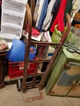 ANTIQUE IRON WHEEL HAND TRUCK DOLLY FEED BAG CART STEAMPUNK DECOR in Naperville, Illinois