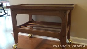 ALL WOOD ROLL AWAY TV STAND/SIDE TABLE in Yorkville, Illinois