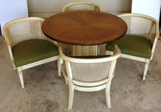 Pedestal Style Table with Four Antique White Cain Chairs in Joliet, Illinois