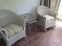 Vintage white wicker chair and rocker in Bolingbrook, Illinois