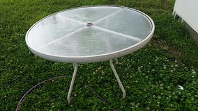 Round White Metal Patio Table in Okinawa, Japan