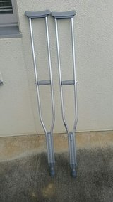 Two Gray Underarm Crutches in Okinawa, Japan
