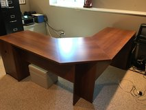 Office L-shaped desk with 2 cabinets for storage and pull out key board tray with black office c... in Aurora, Illinois