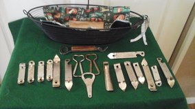 Bar Essential - Vintage Metal  Bottle Openers Collection In Basket in Naperville, Illinois