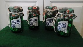 New! Assembled by Crafter Rolling Rock Beer Mason Jar Glasses W/ Vintage Beer Bottle Openers Inside in Plainfield, Illinois