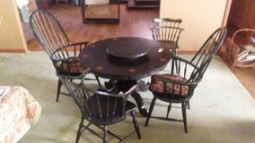 Solid wood table w/4 chairs + Entertainment center in Morris, Illinois
