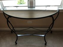 Half round glass top and shelf console table in Chicago, Illinois