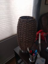 Cylinder rattan table lamp in DeKalb, Illinois