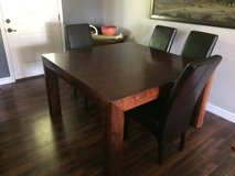 Kitchen/dining room table hard wood & hard wood table (square 5x5) including leather Chairs in Fort Leonard Wood, Missouri