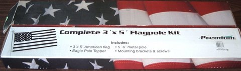 ONLY $1 New 3' x 5' Premium Flag Pole Kit Includes Flag, Pole, Eagle Topper, Brackets & Screws in Yorkville, Illinois
